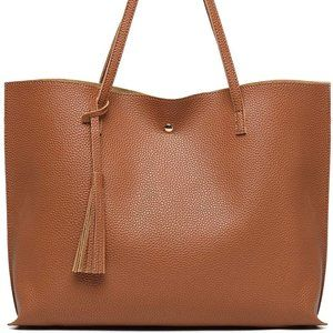 NEW JUAL Tote Soft Faux Leather, Brown